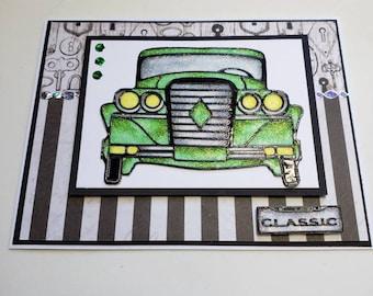 Classic Green Glitter Car Card
