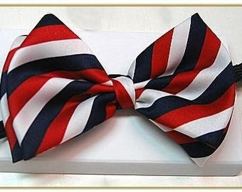 Men's Red White and Blue Stripe Bow Tie