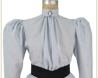 f8182aac0c0f Victorian Blue & White Stripe Blouse