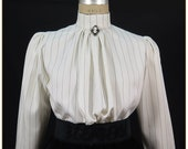 1890s-1900s Fashion, Clothing, Costumes Antique White and Black Stripe Victorian Blouse $65.00 AT vintagedancer.com