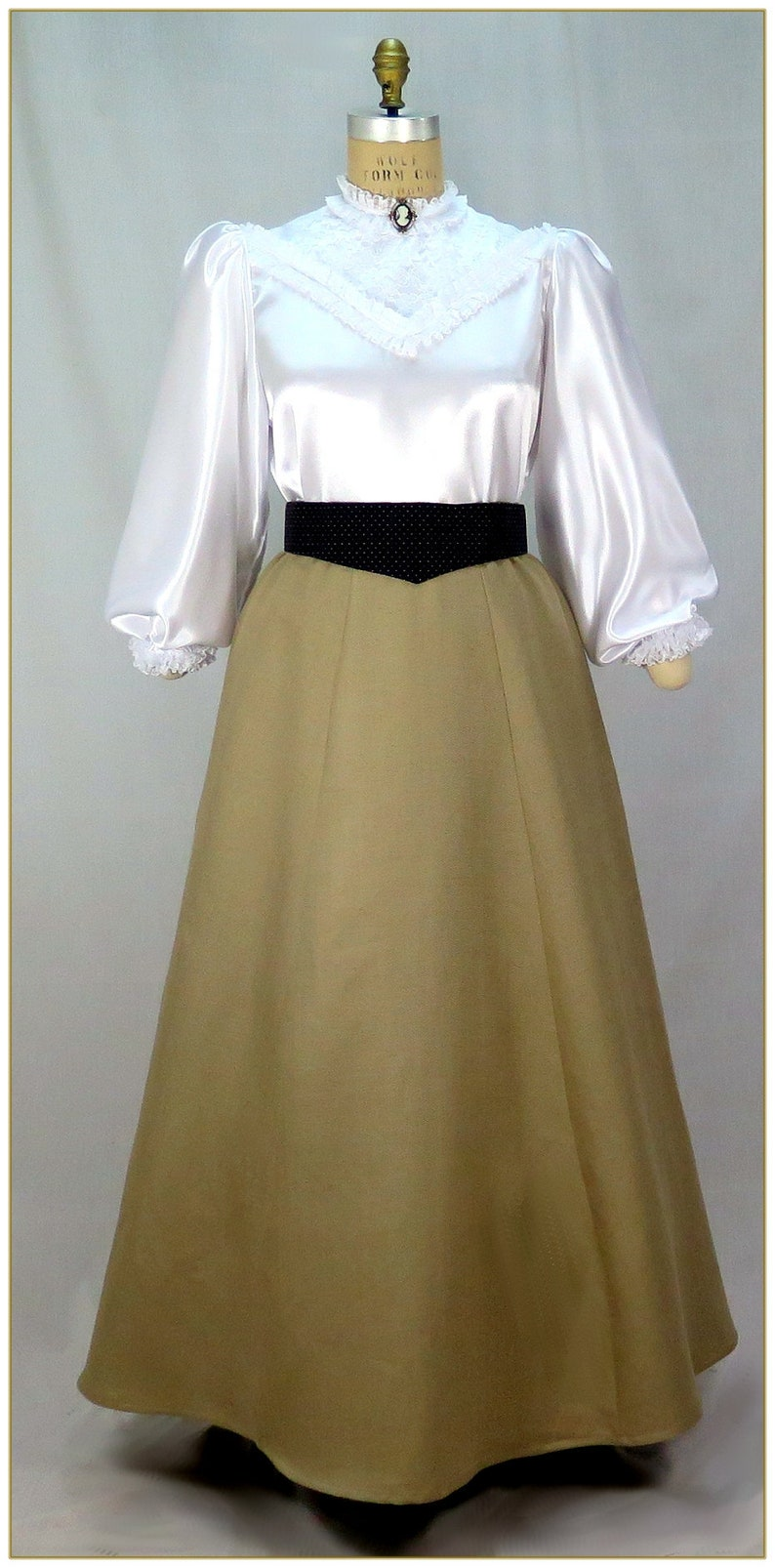 Victorian Costumes: Dresses, Saloon Girls, Southern Belle, Witch Victorian Tan Herringbone Skirt Premier $69.00 AT vintagedancer.com