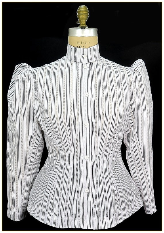 1900-1910s Clothing Victorian Stripe Honeycombed Blouse Premier $44.00 AT vintagedancer.com