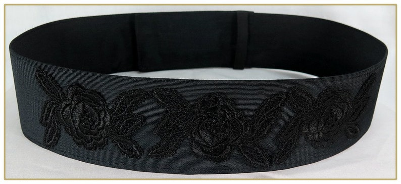 A History of Belts 1920-1960 Black Rose Victorian Belt $39.00 AT vintagedancer.com