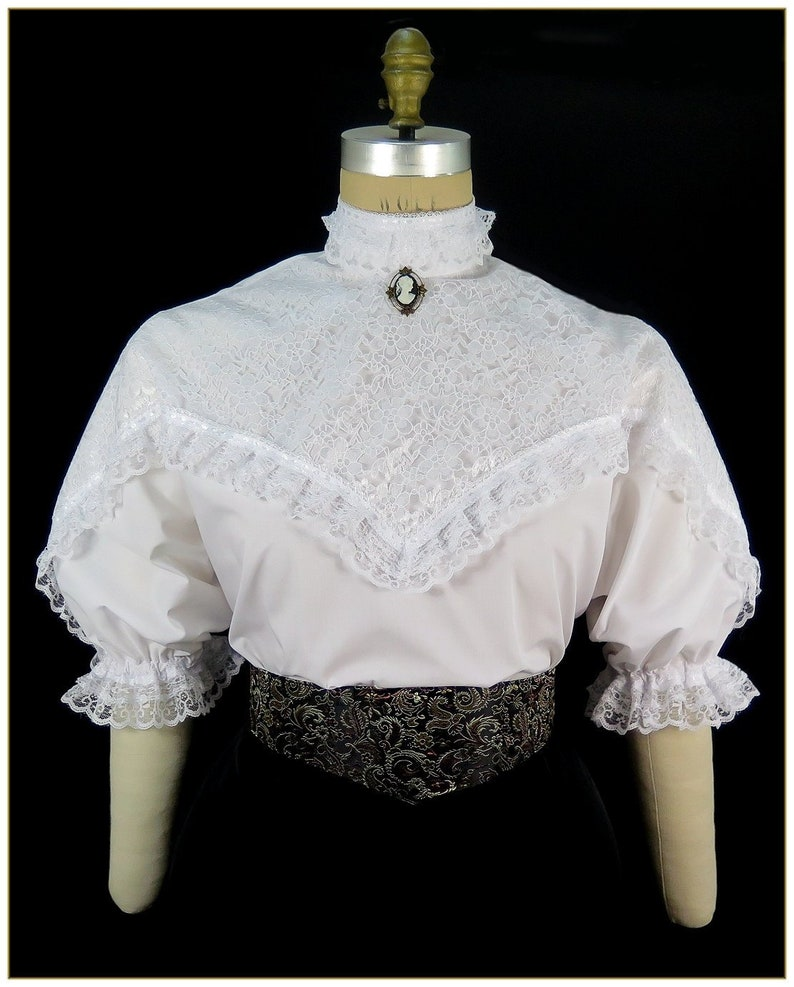 Victorian Plus Size Dresses | Edwardian Clothing, Costumes 1890-1905 Victorian Broadcloth and Lace Short Sleeve Blouse $89.00 AT vintagedancer.com