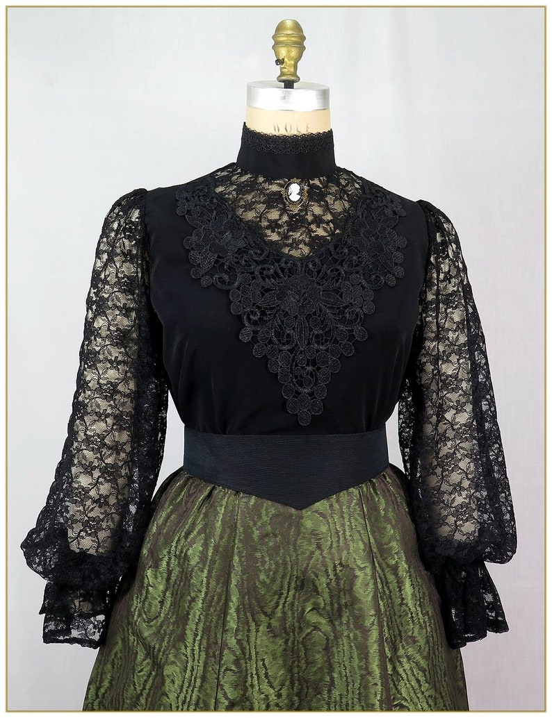 1890s-1900s Fashion, Clothing, Costumes Victorian Black Peachskin & Lace Blouse $89.00 AT vintagedancer.com