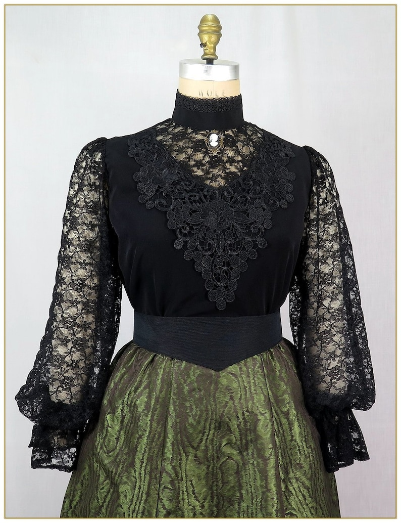 Victorian Plus Size Dresses | Edwardian Clothing, Costumes 1890 -1905 Victorian Black Peachskin & Lace Blouse $89.00 AT vintagedancer.com
