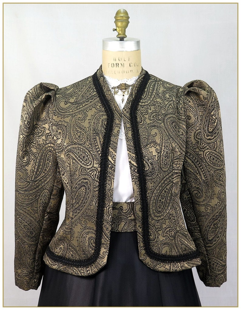 Victorian Jacket, Coat, Ladies Suits | Edwardian, 1910s, WW1 1890-1905 Victorian Paisley Brocade Jacket $92.00 AT vintagedancer.com