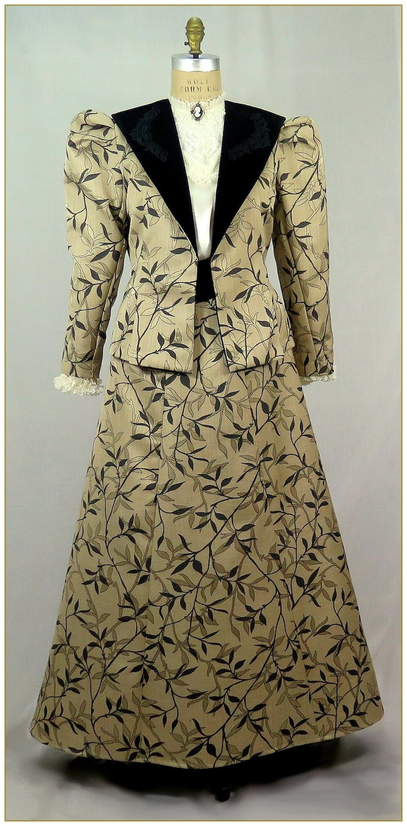 Vintage Tea Dresses, Floral Tea Dresses, Tea Length Dresses 1900-1910 Edwardian Victorian Leaf and Vine Jacket $92.00 AT vintagedancer.com