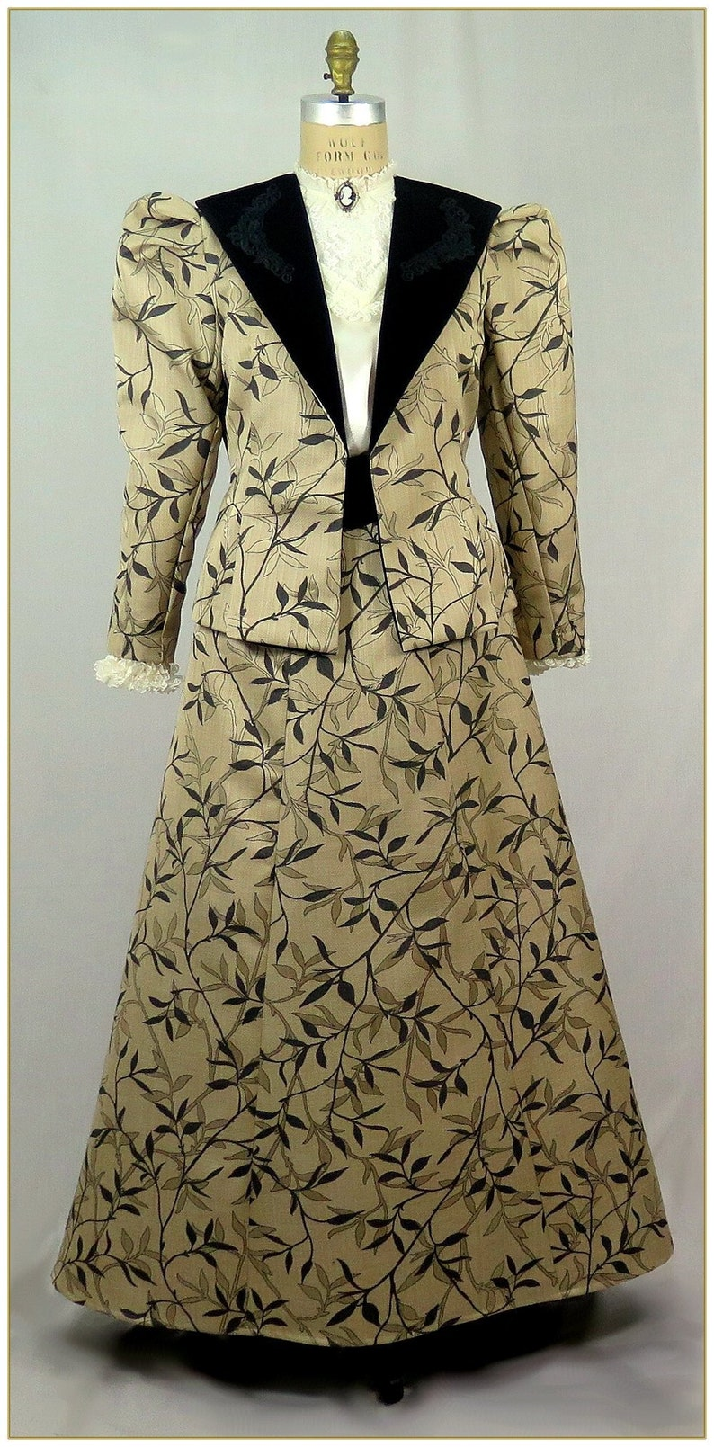 Victorian Skirts | Bustle, Walking, Edwardian Skirts 1900-1910 Edwardian Victorian Leaf and Vine Jacket $92.00 AT vintagedancer.com
