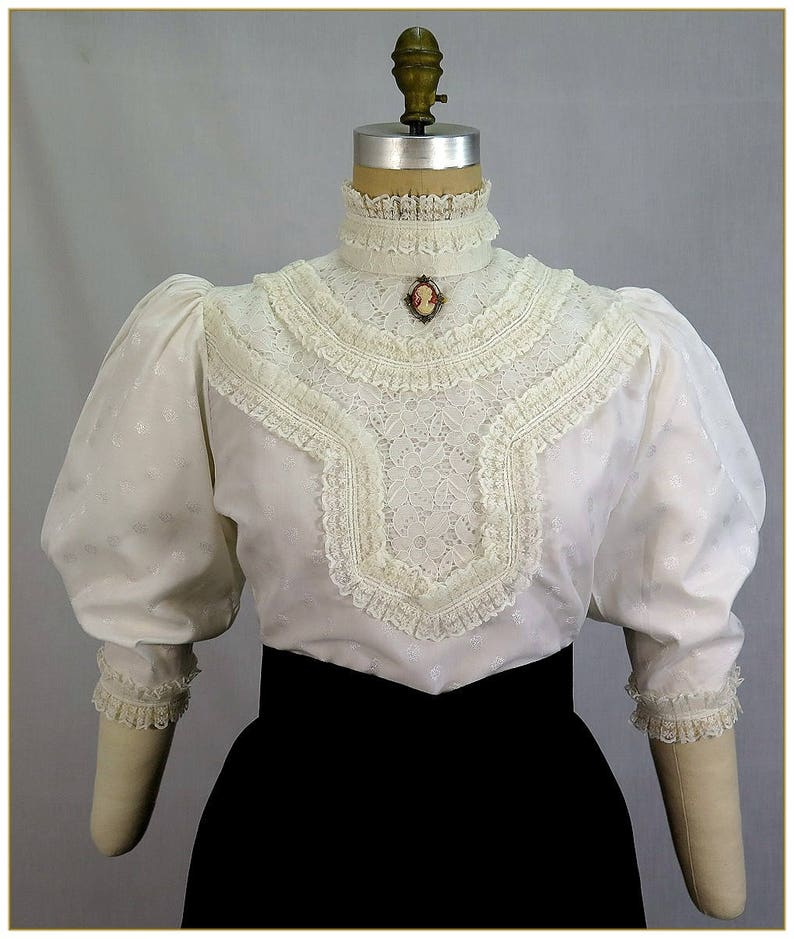 Victorian Plus Size Dresses | Edwardian Clothing, Costumes 1900 - 1911 Victorian Dot & Ruffle Lace Blouse $92.00 AT vintagedancer.com