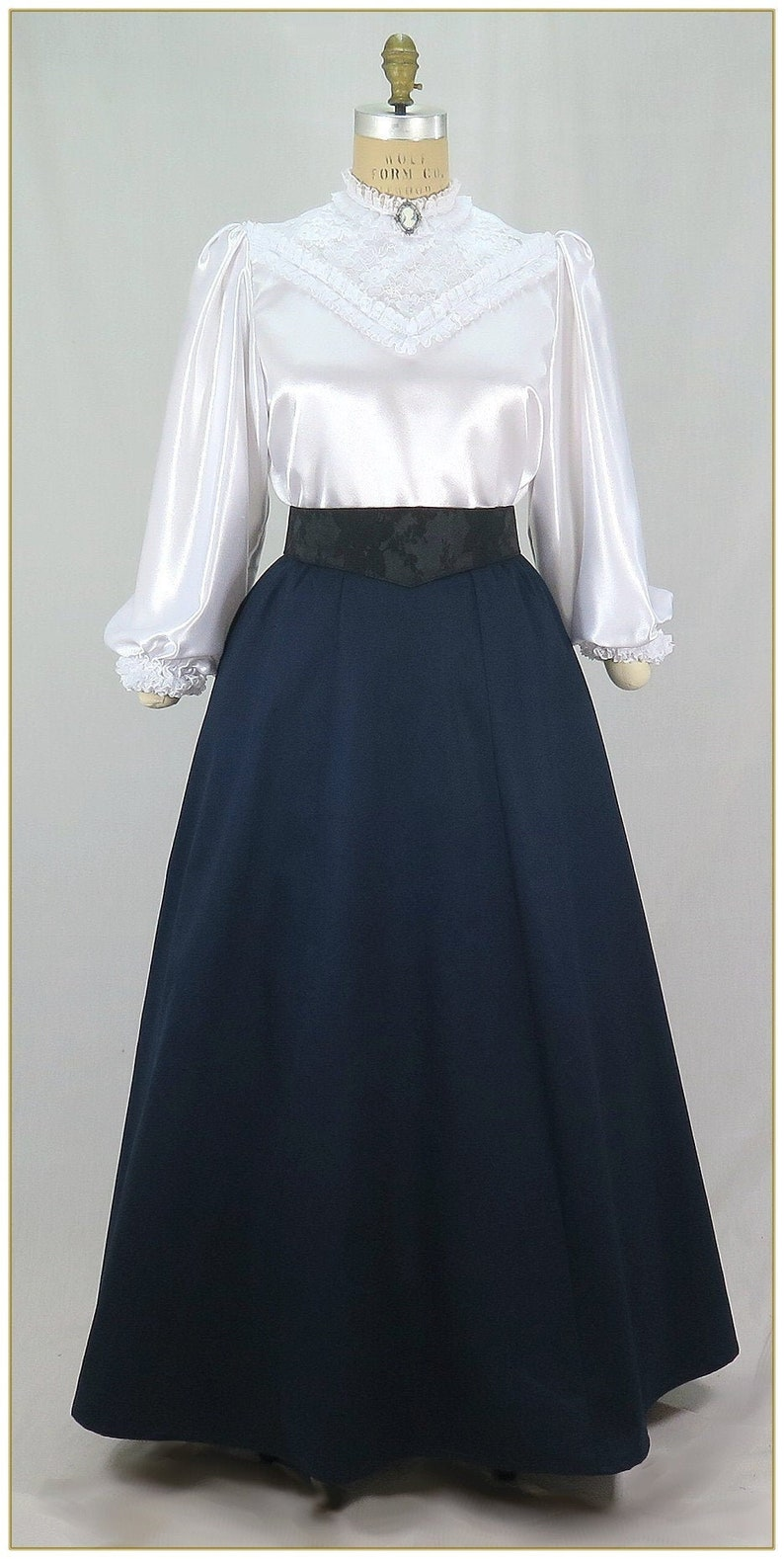 Victorian Clothing, Costumes & 1800s Fashion Victorian Navy Twill Skirt Premiere  $65.00 AT vintagedancer.com