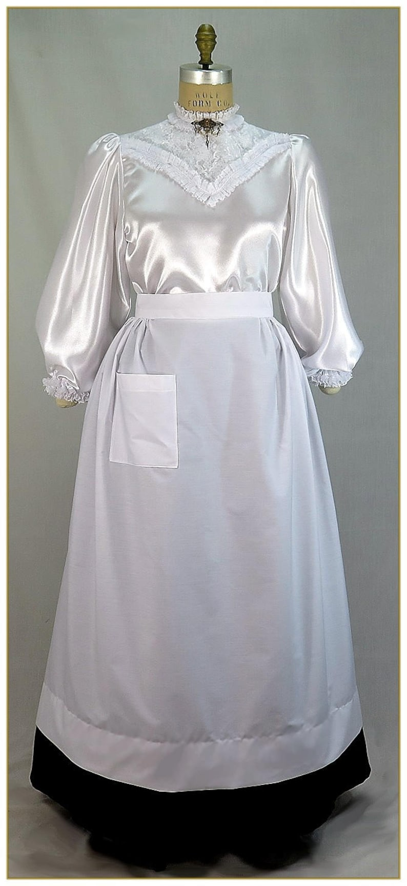 Vintage Aprons, Retro Aprons, Old Fashioned Aprons & Patterns Victorian Maids Full Length Half Apron $39.00 AT vintagedancer.com