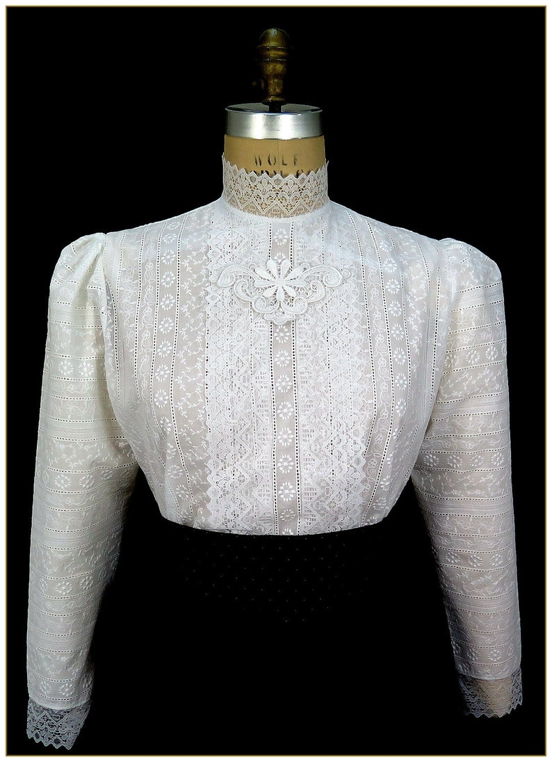 Edwardian Blouses | White & Black Lace Blouses & Sweaters Embroidered Stripe Edwardian Blouse $68.00 AT vintagedancer.com