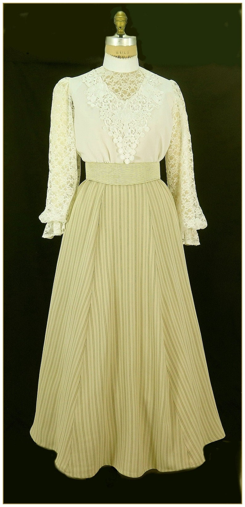 1890s-1900s Fashion, Clothing, Costumes Victorian Khaki Tan Stripe Skirt $65.00 AT vintagedancer.com