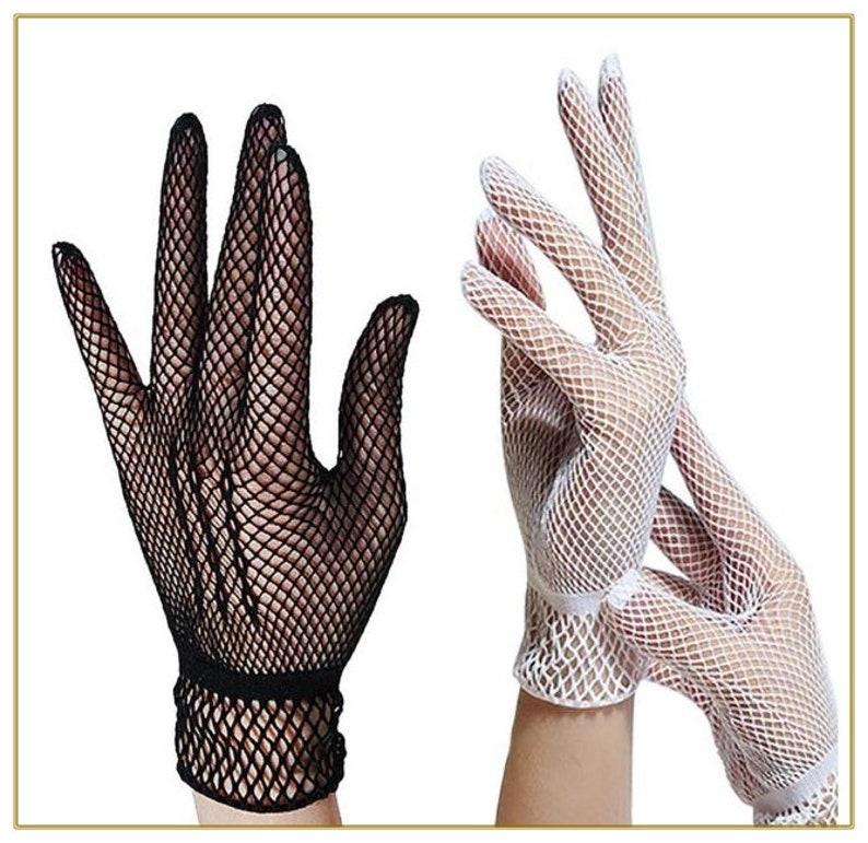 Victorian Gloves | Victorian Accessories Crochet Mesh Gloves Black or White $10.00 AT vintagedancer.com