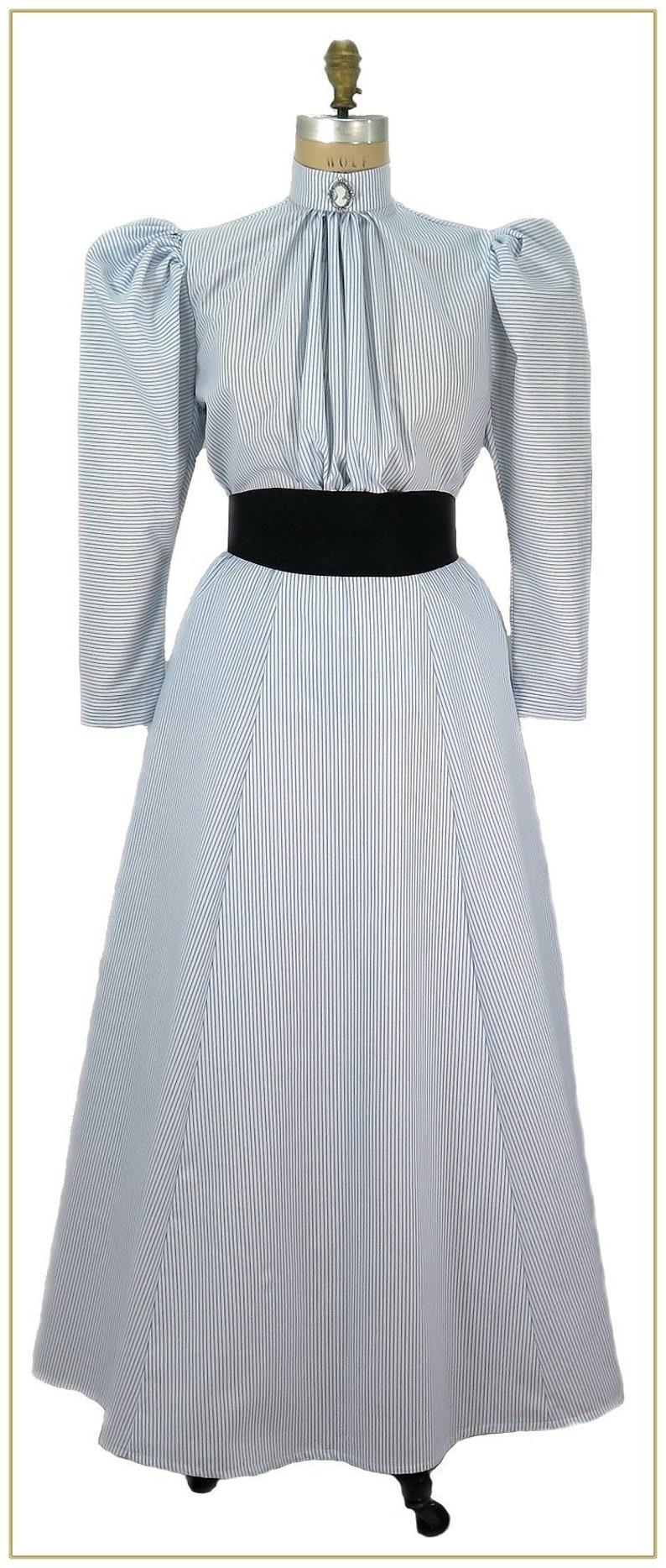 Victorian Skirts | Bustle, Walking, Edwardian Skirts 1895-1905 Striped Maid Skirt  $59.00 AT vintagedancer.com