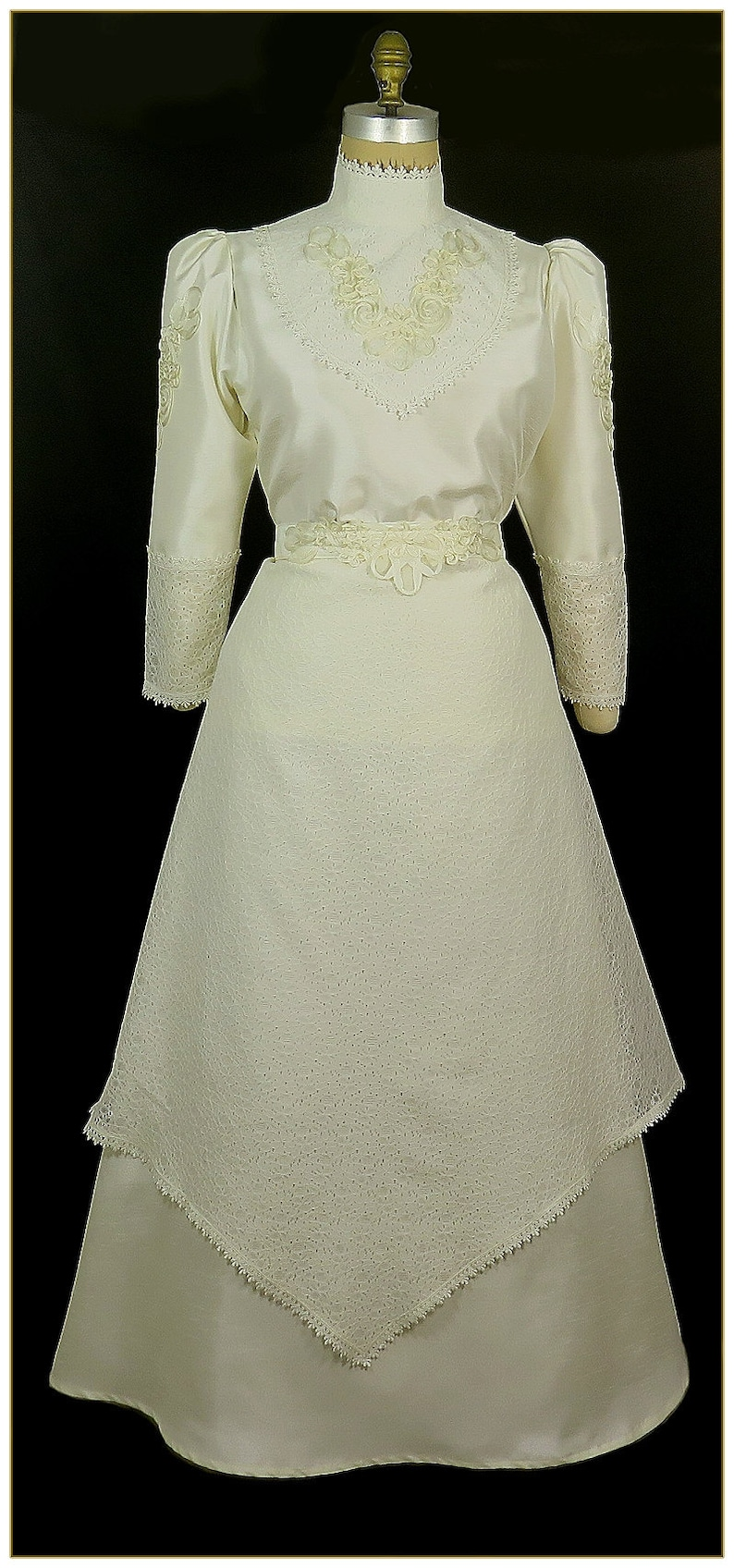 Victorian Dresses | Victorian Ballgowns | Victorian Clothing Antique White Shantung and Lace Skirt $92.00 AT vintagedancer.com