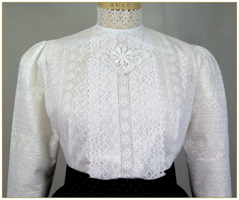 Embroidered Stripe Edwardian Blouse