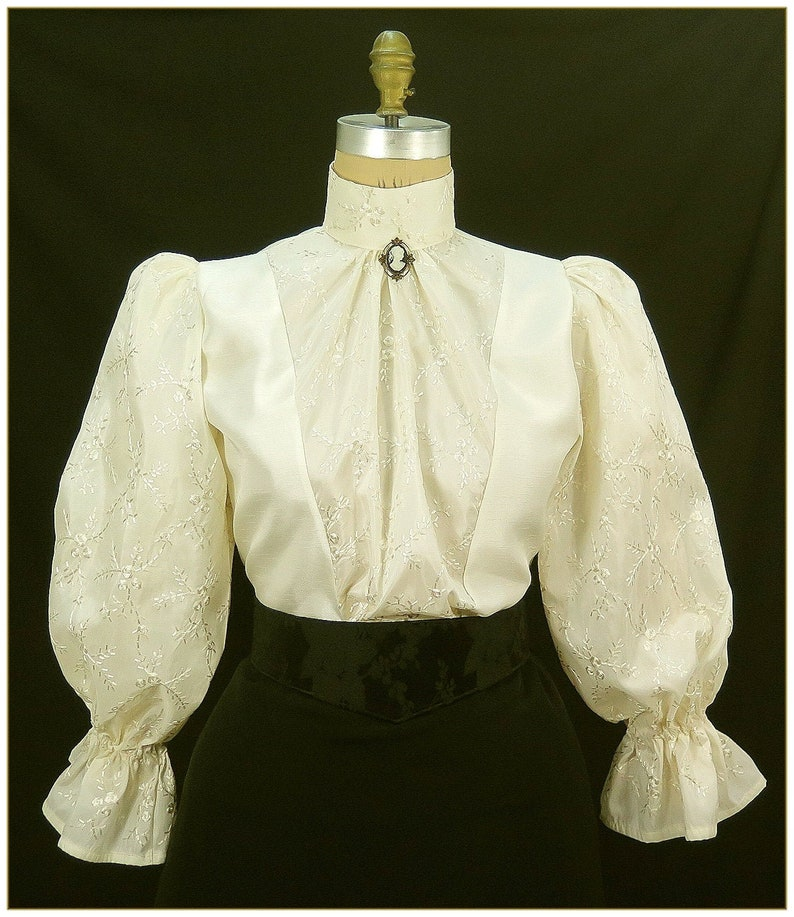 Victorian Blouses, Tops, Shirts, Vests, Sweaters     Embroidered Ivory Shantung Blouse $68.00 AT vintagedancer.com