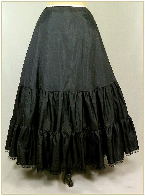1800s Dresses, Capelets, Hoop Skirts, Blouses Victorian Black Two Tier Petticoat Adjustable Waist Sizes 24