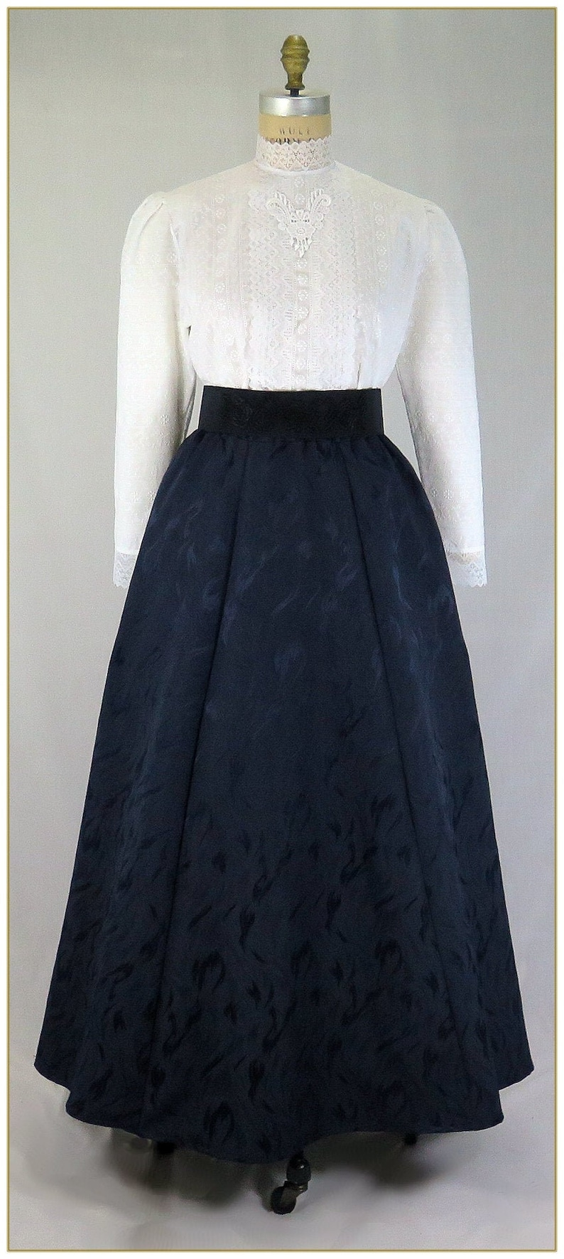 1890s-1900s Fashion, Clothing, Costumes Victorian Midnight Navy Blue Jacquard Skirt $68.00 AT vintagedancer.com