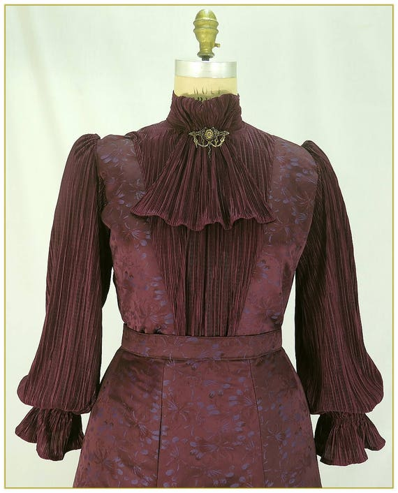 Victorian Blouses, Tops, Shirts, Vests Plum Brocade Victorian Blouse $98.00 AT vintagedancer.com