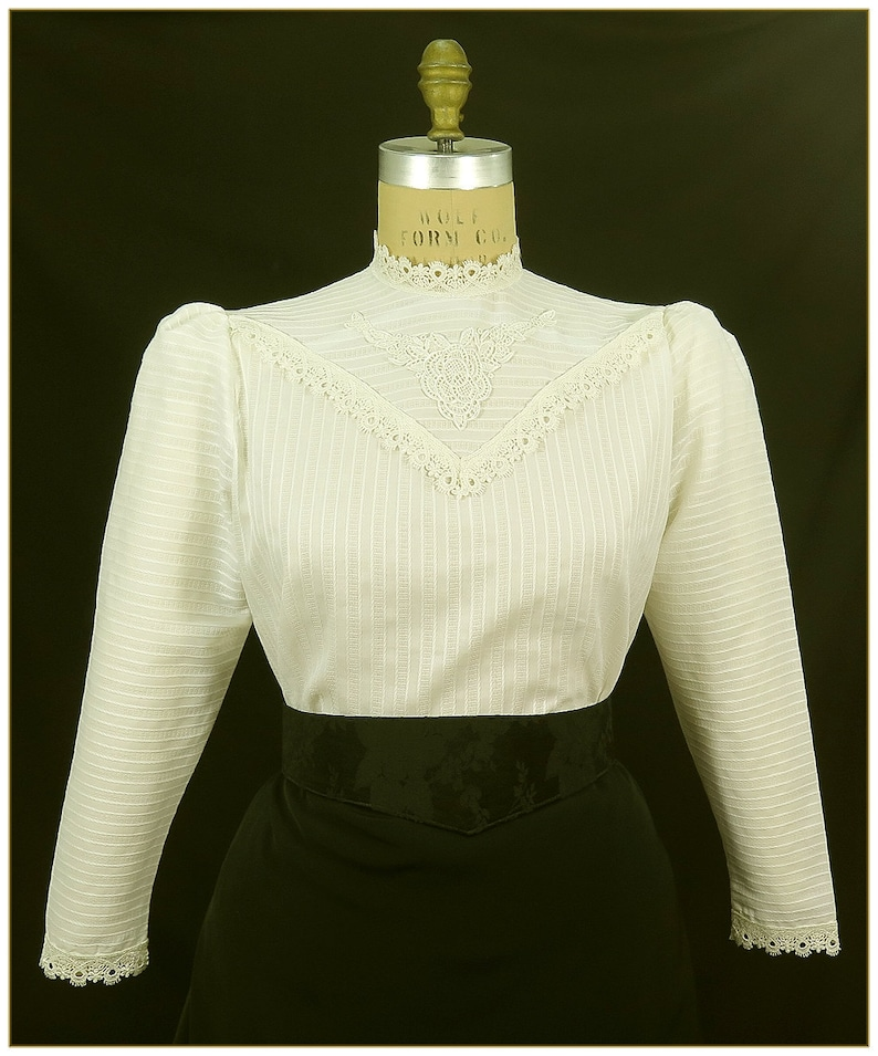Edwardian Blouses |  Lace Blouses & Sweaters Edwardian Ivory Stripe Cotton Blouse $62.00 AT vintagedancer.com