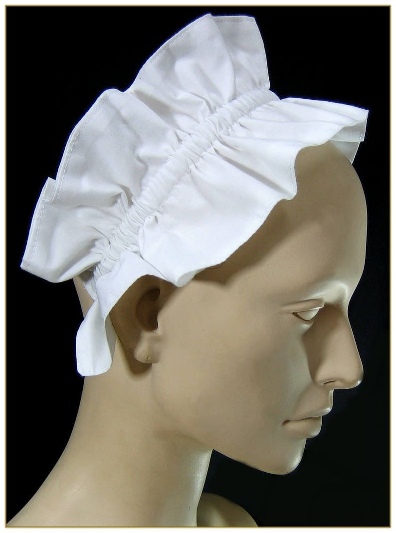Vintage Aprons, Retro Aprons, Old Fashioned Aprons & Patterns 1900-1915 Maids Headband Cap Hat $26.00 AT vintagedancer.com