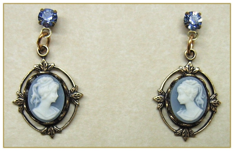 Vintage Style Jewelry, Retro Jewelry Cameo Earrings Available in Three Colors $19.00 AT vintagedancer.com