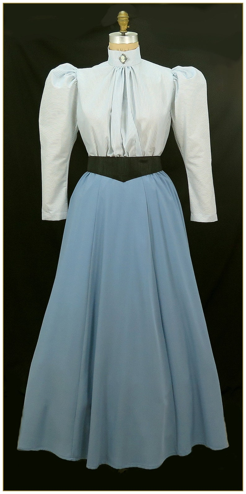 Victorian Skirts | Bustle, Walking, Edwardian Skirts Dusty Blue Skirt  Premier $68.00 AT vintagedancer.com