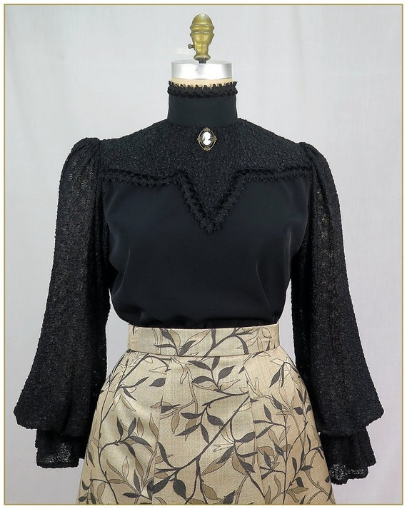 Victorian Blouses, Tops, Shirts, Sweaters Victorian Boucle Black Blouse Premier Victorian $79.00 AT vintagedancer.com