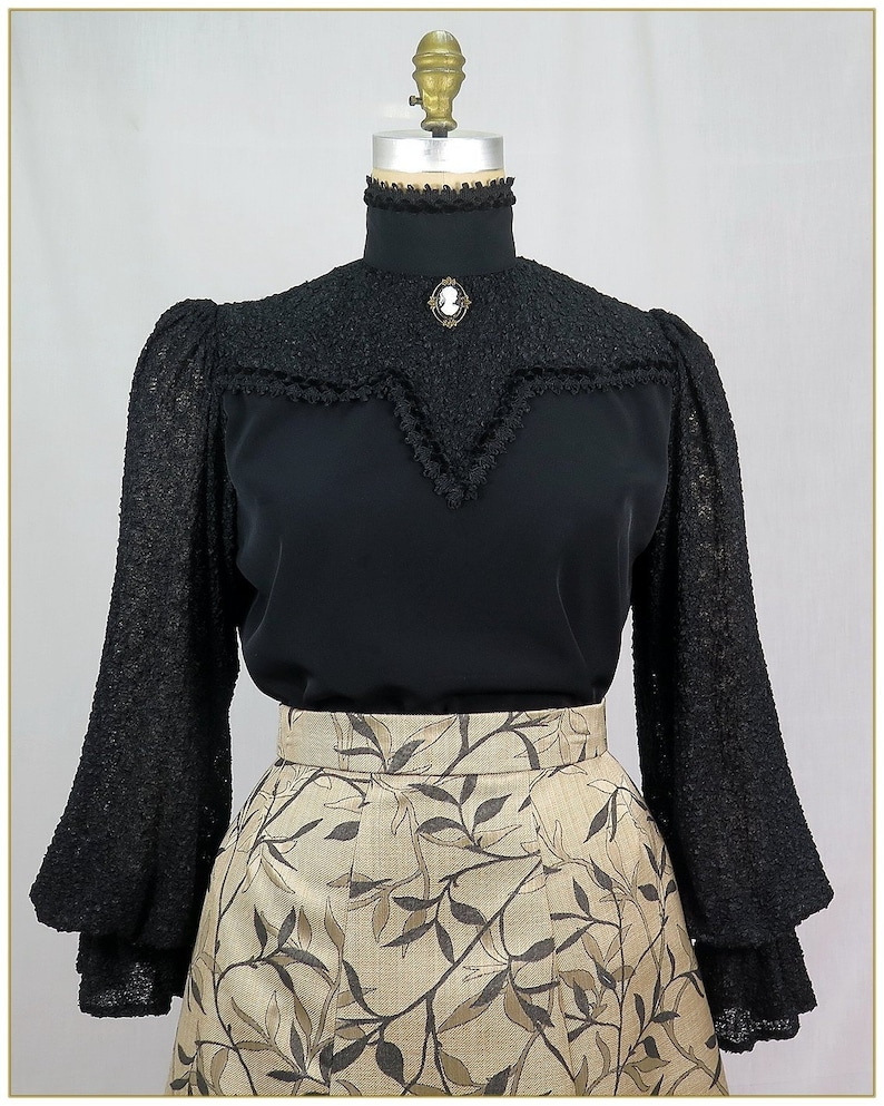 Victorian Plus Size Dresses | Edwardian Clothing, Costumes Victorian Boucle Black Blouse $79.00 AT vintagedancer.com