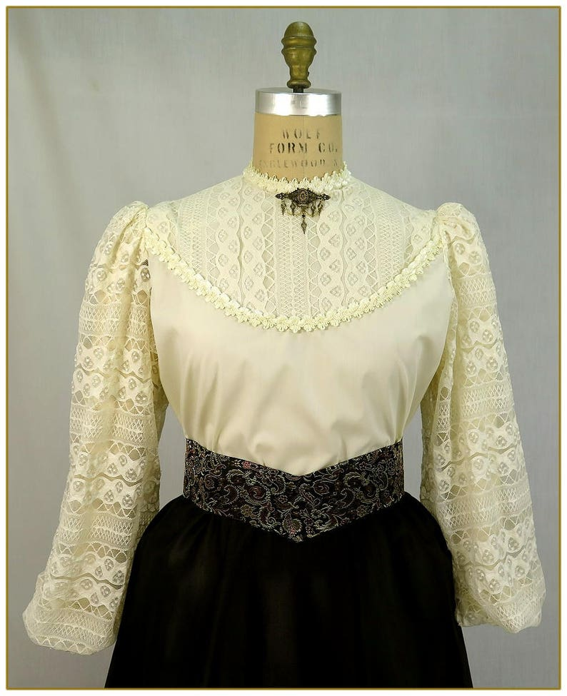 Edwardian Blouses | White & Black Lace Blouses & Sweaters Ivory Stripe Lace Victorian Blouse $49.00 AT vintagedancer.com