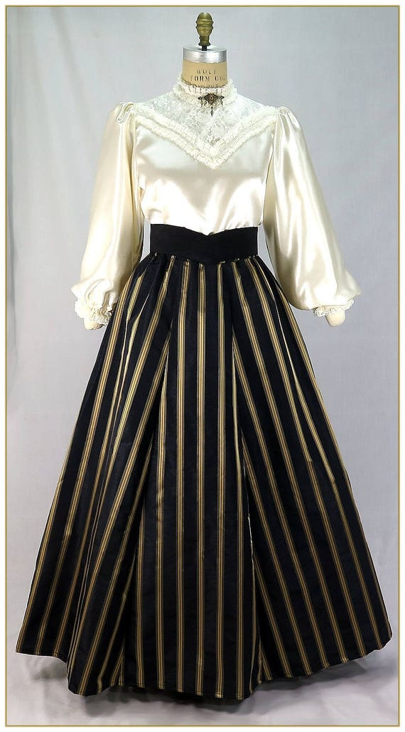 Victorian Dresses, Clothing: Patterns, Costumes, Custom Dresses Victorian Black and Gold Stripe Skirt $65.00 AT vintagedancer.com