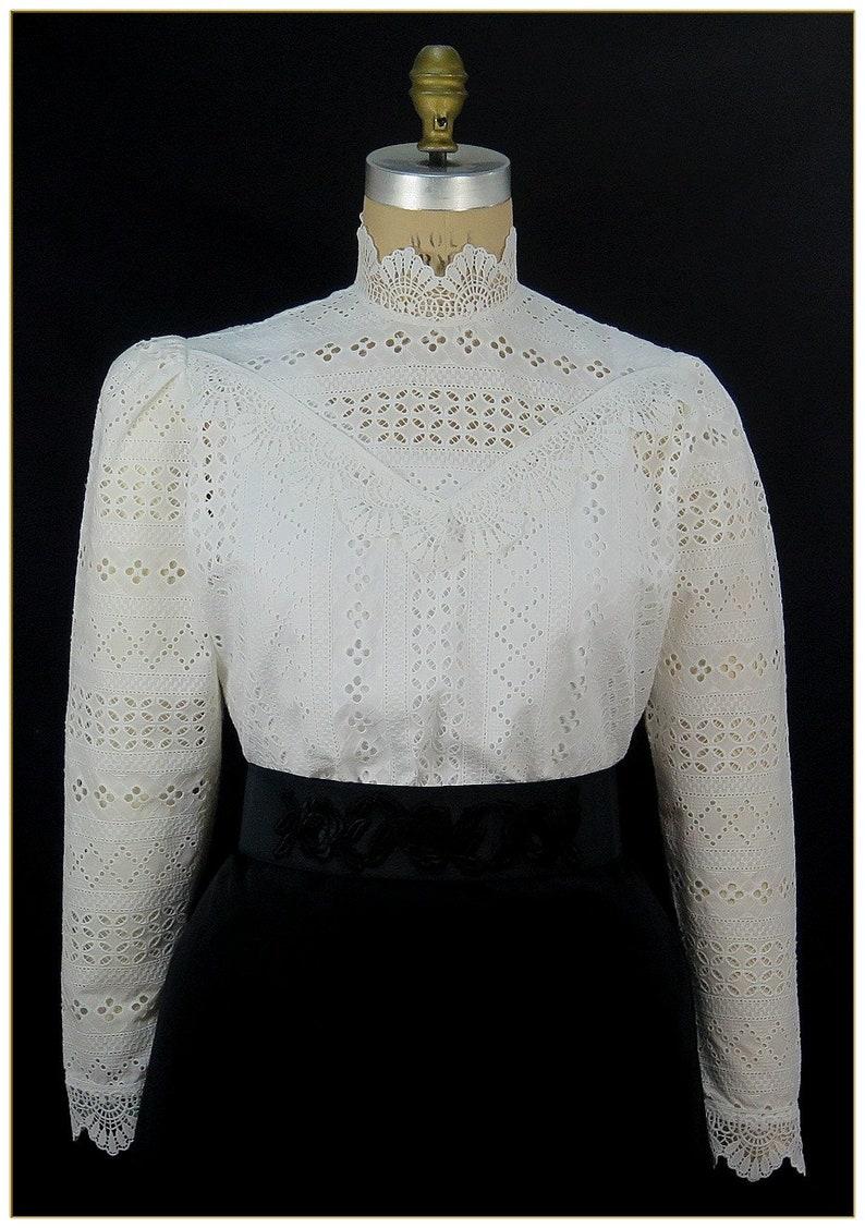 1900 -1910s Edwardian Fashion, Clothing & Costumes Edwardian Stripe Embroidered Cotton Blouse $68.00 AT vintagedancer.com