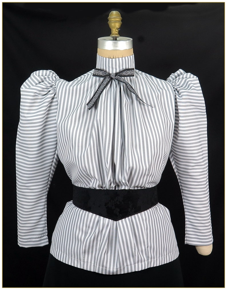 Victorian Clothing, Costumes & 1800s Fashion Victorian Black & White Stripe Blouse $65.00 AT vintagedancer.com