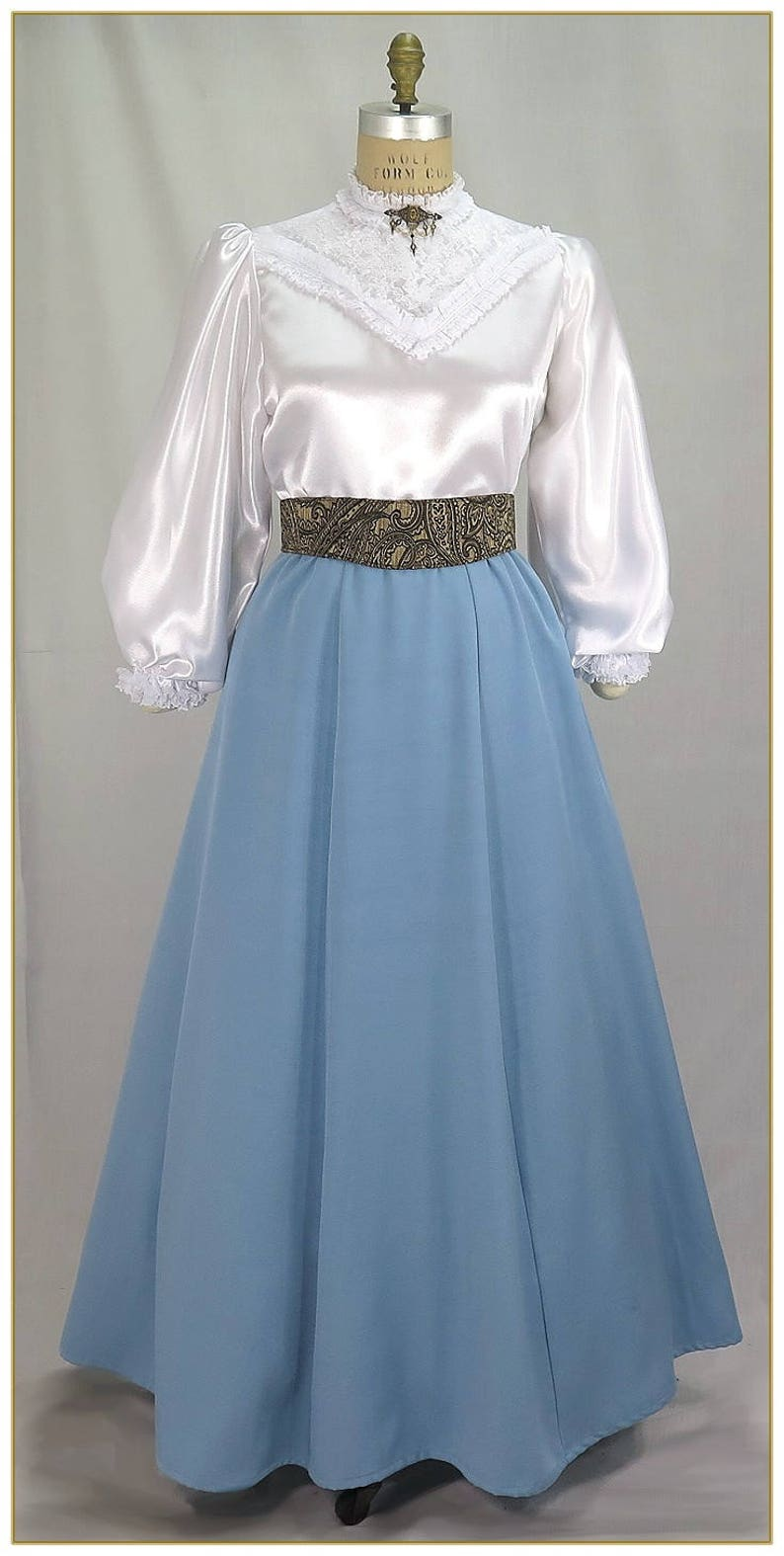 Victorian Skirts | Bustle, Walking, Edwardian Skirts 1890-1905 Sky Blue Victorian Skirt $65.00 AT vintagedancer.com