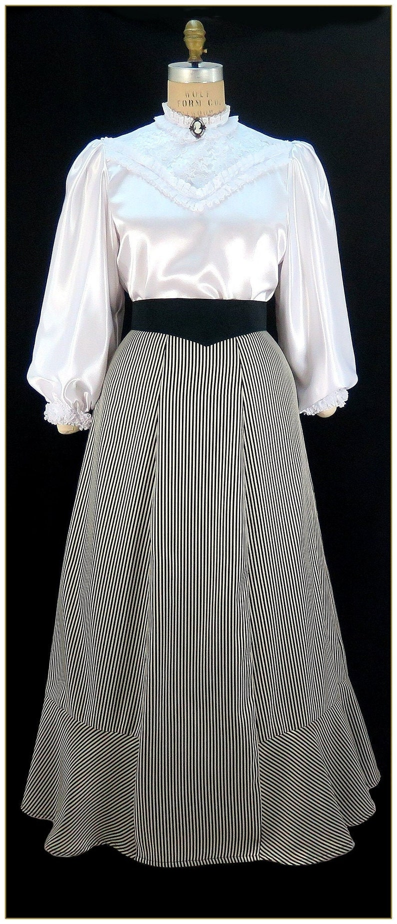 1890s-1900s Fashion, Clothing, Costumes Victorian Black & White Stripe Peplum Skirt $98.00 AT vintagedancer.com