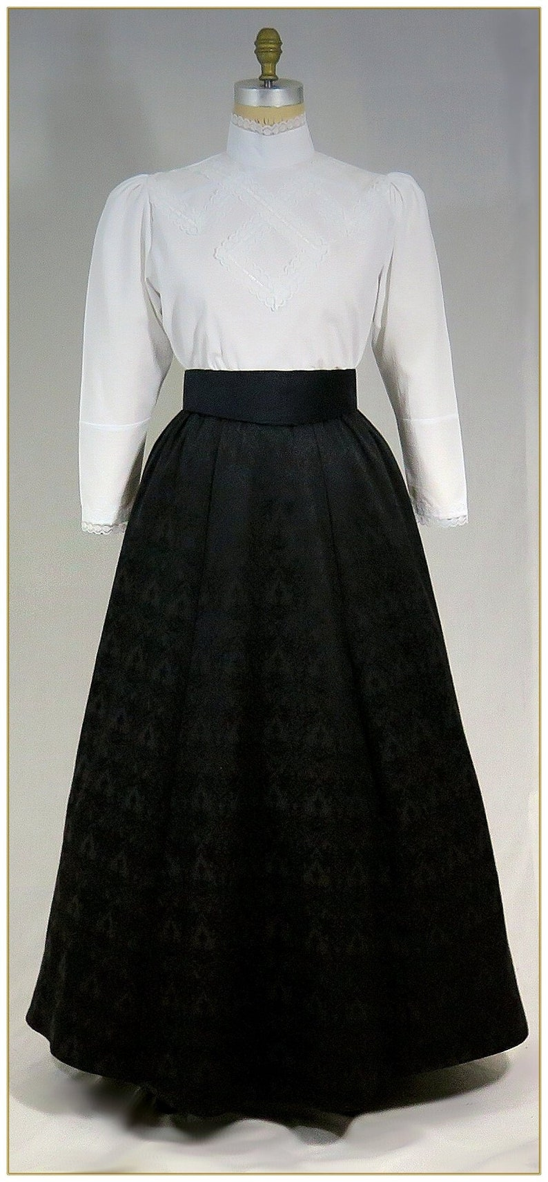 Edwardian Ladies Clothing – 1900, 1910s, Titanic Era 1890-1905 Victorian Black Jacquard Skirt $68.00 AT vintagedancer.com