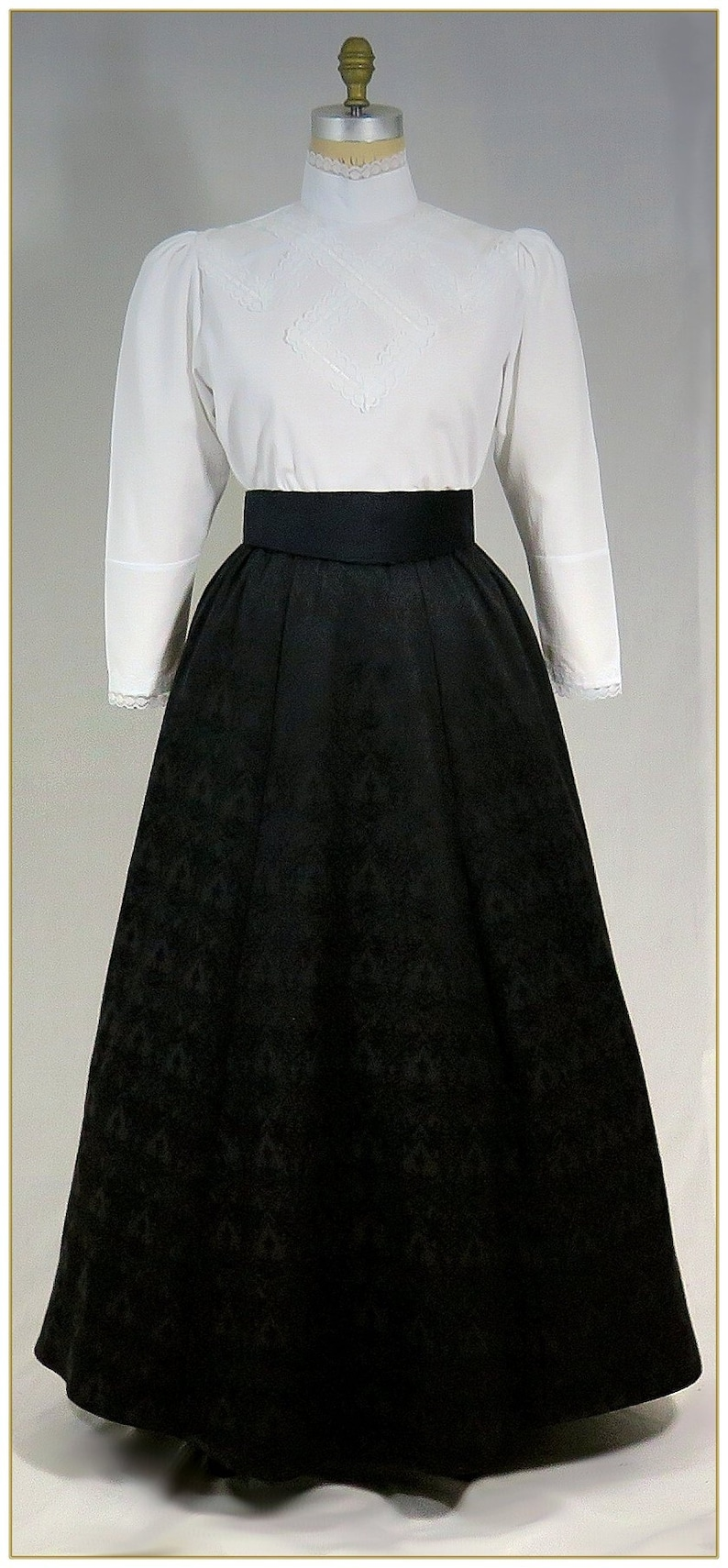 Victorian Skirts | Bustle, Walking, Edwardian Skirts 1890-1905 Victorian Black Jacquard Skirt $68.00 AT vintagedancer.com