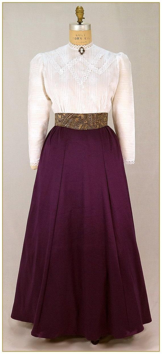 Edwardian Ladies Clothing – 1900, 1910s, Titanic Era image 0 image 1 Victorian Violet Taffeta Skirt $65.00 AT vintagedancer.com