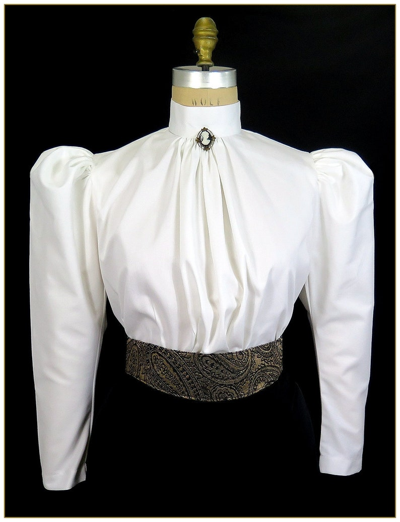 Victorian Blouses, Tops, Shirts, Sweaters Classic Leg-O-Mutton Sleeve Victorian Blouse $62.00 AT vintagedancer.com