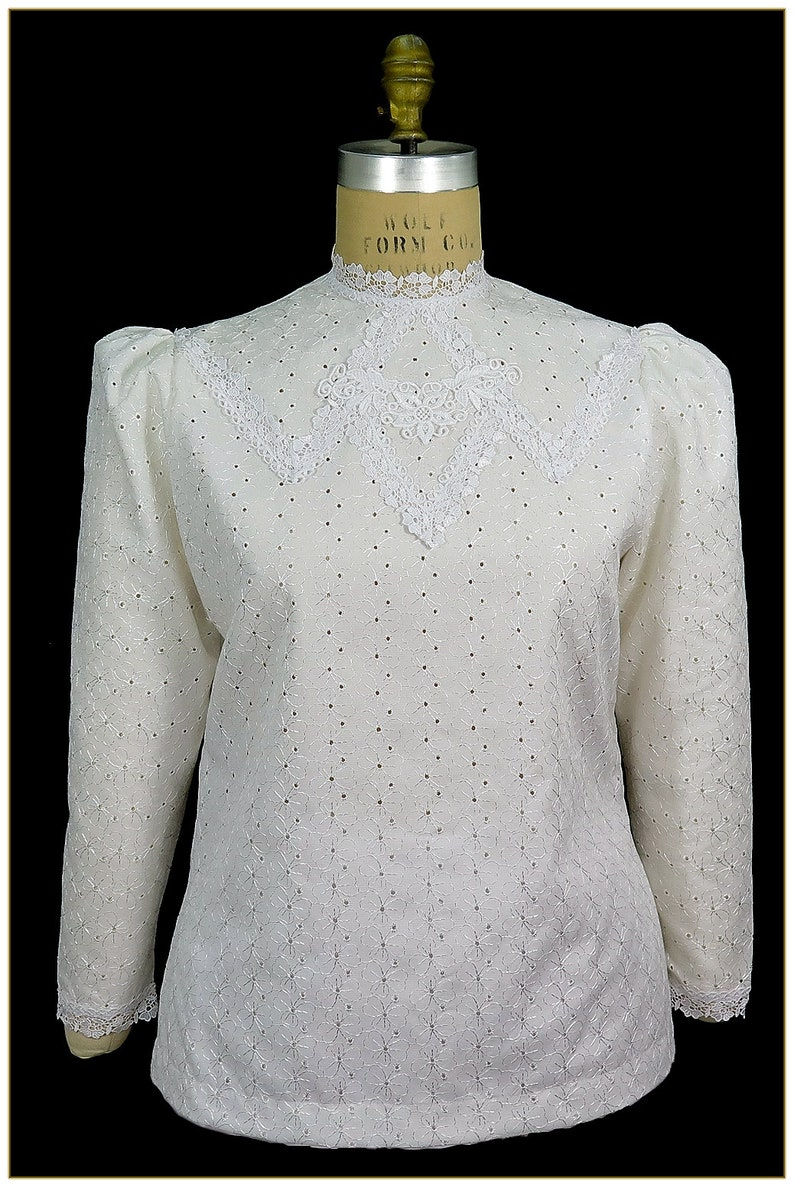 Edwardian Blouses |  Lace Blouses & Sweaters Edwardian Shamrock Eyelet Lace Blouse $68.00 AT vintagedancer.com