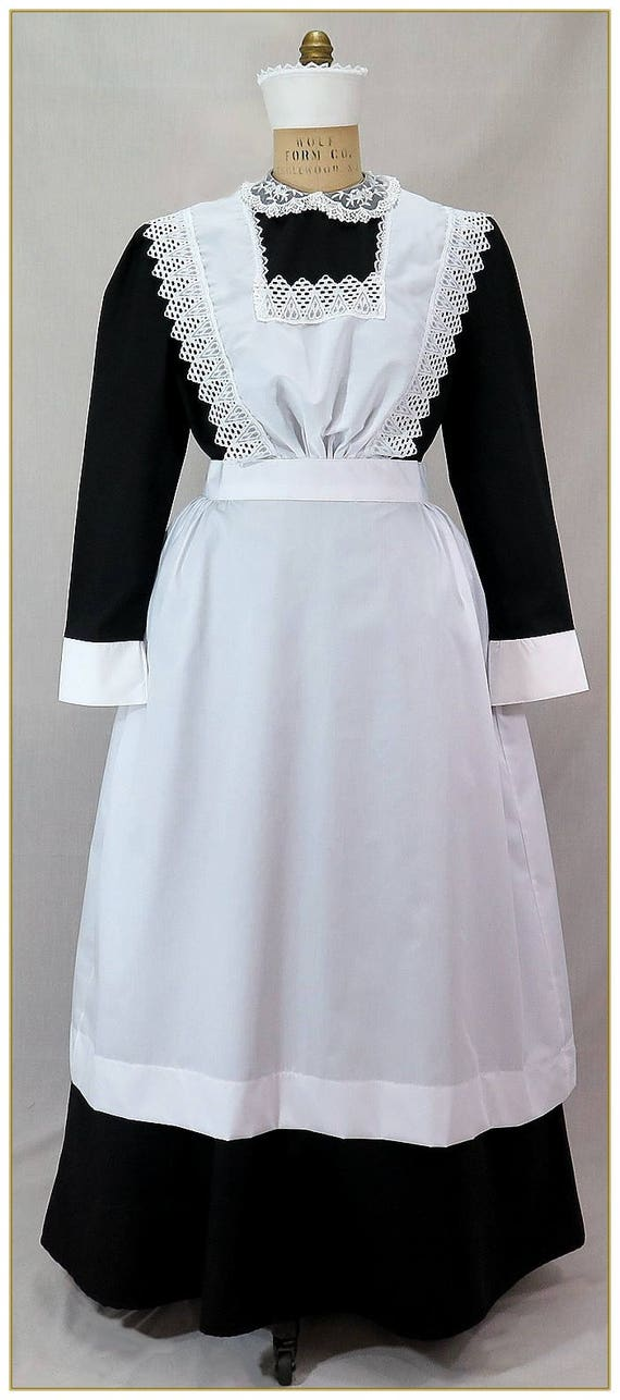 1950s House Dresses and Aprons History 1900-1910 Edwardian Maids Bib Apron $79.00 AT vintagedancer.com