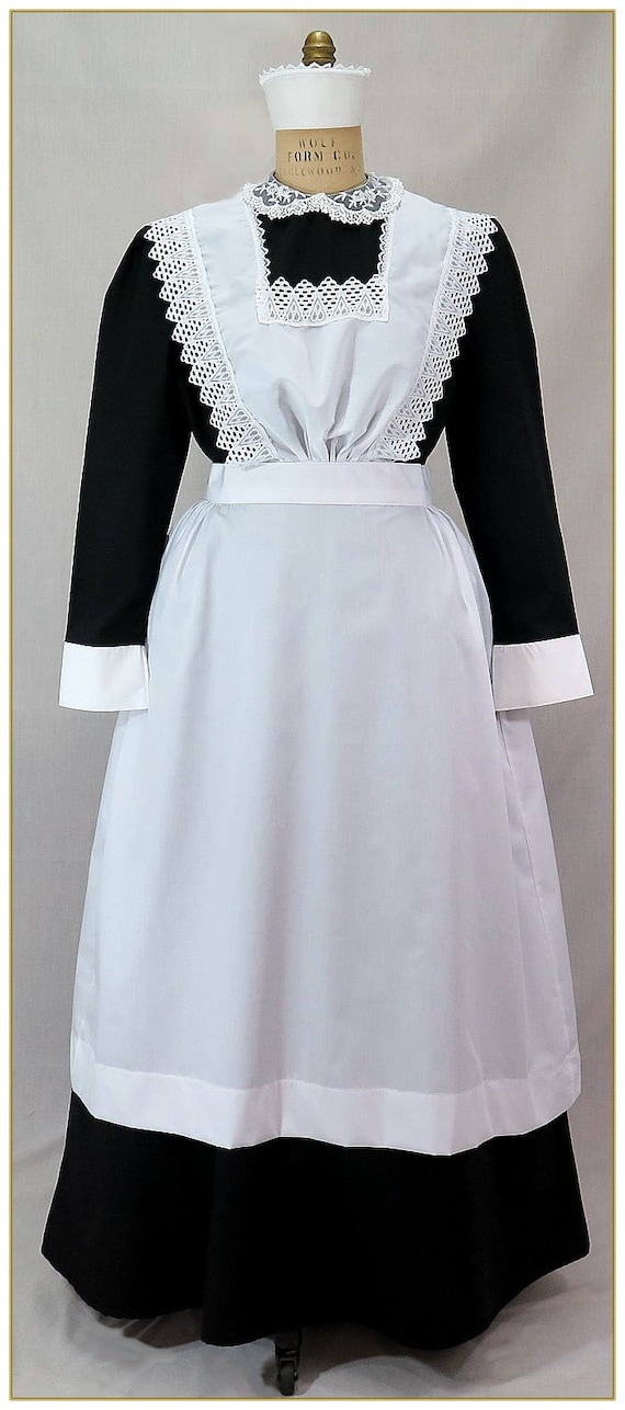 Victorian Edwardian Apron, Maid Costume & Patterns 1900-1910 Edwardian Maids Bib Apron $79.00 AT vintagedancer.com