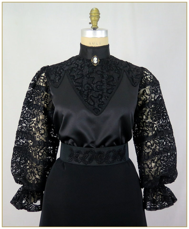 Steampunk Tops | Blouses, Shirts Victorian Ribbon Lace Satin Blouse $79.00 AT vintagedancer.com