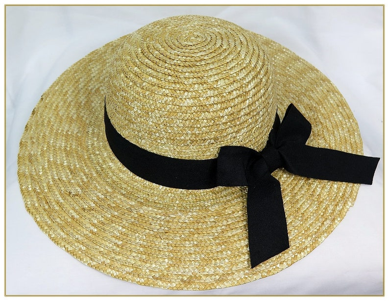 Tea Party Hats – Victorian to 1950s Round Top Natural Sewn Braid Straw Hat $39.00 AT vintagedancer.com
