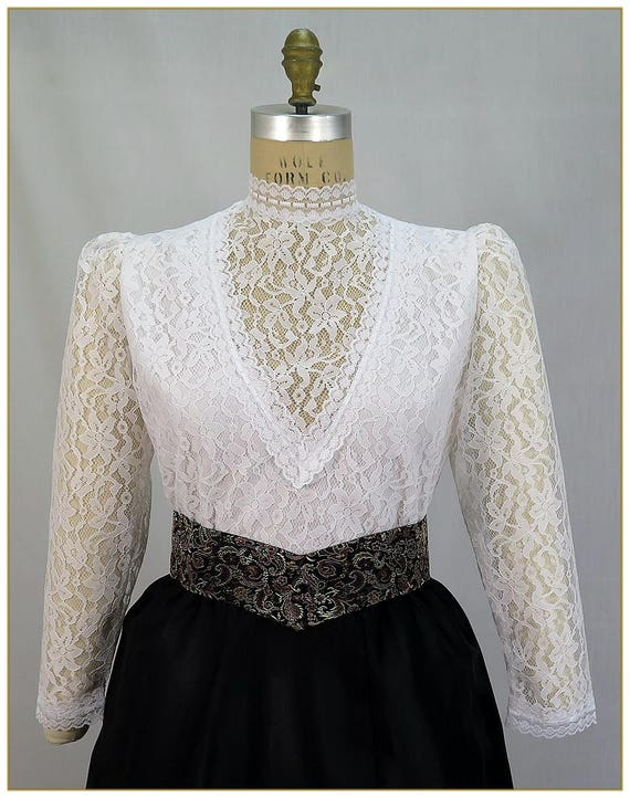 Edwardian Blouses | White & Black Lace Blouses & Sweaters Lace Challis Edwardian Blouse $92.00 AT vintagedancer.com