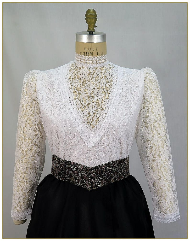 Victorian Plus Size Dresses | Edwardian Clothing, Costumes 1900-1915 Lace Challis Edwardian Blouse $92.00 AT vintagedancer.com