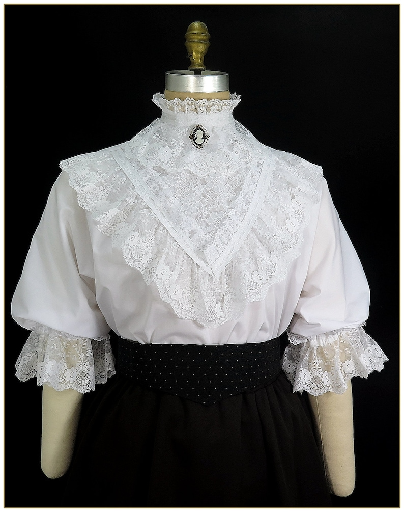 Victorian Clothing, Costumes & 1800s Fashion Victorian Ruffle Lace & Ribbon Blouse $68.00 AT vintagedancer.com